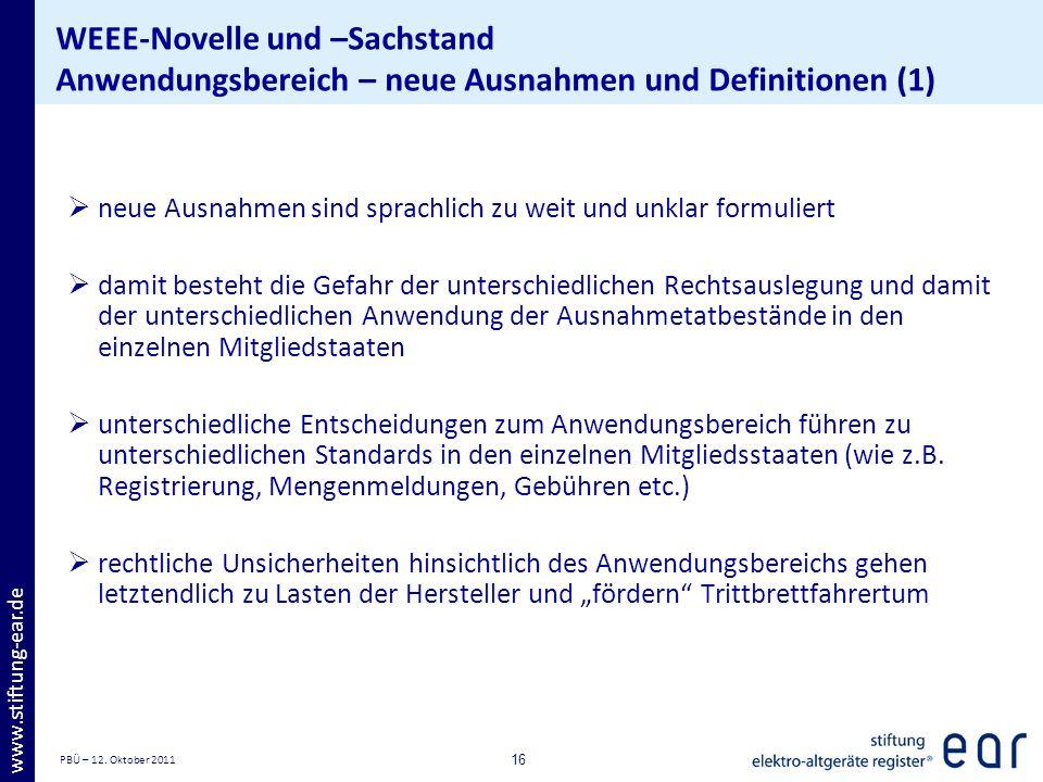 PBÜ – 12. Oktober 2011 16 www.stiftung-ear.de WEEE-Novelle und –Sachstand Anwendungsbereich – neue Ausnahmen und Definitionen (1) neue Ausnahmen sind