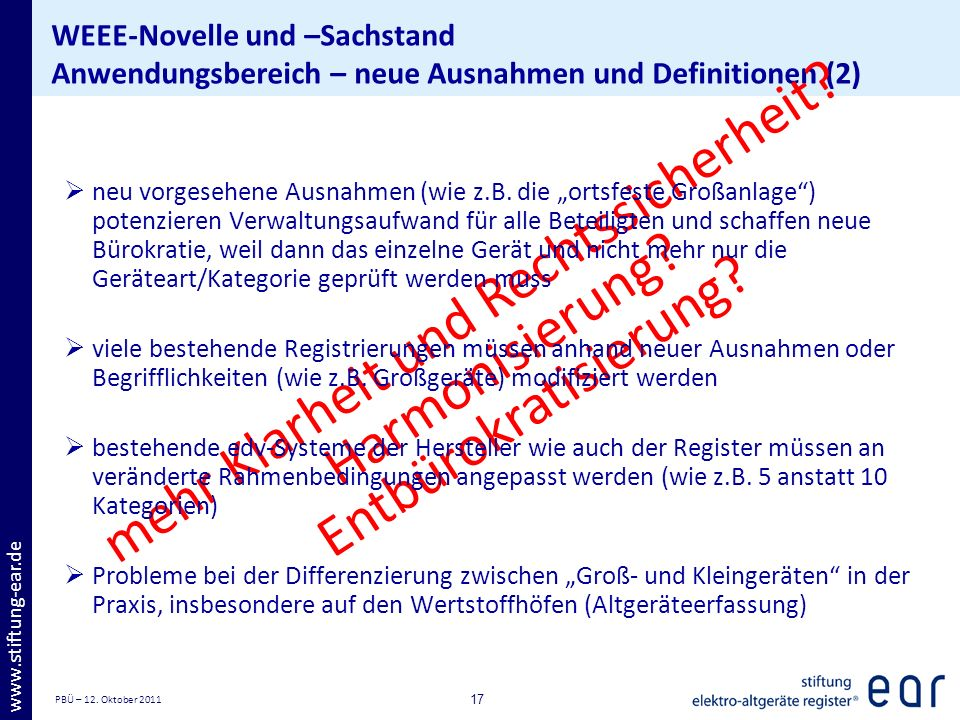 PBÜ – 12. Oktober 2011 17 www.stiftung-ear.de WEEE-Novelle und –Sachstand Anwendungsbereich – neue Ausnahmen und Definitionen (2) mehr Klarheit und Re