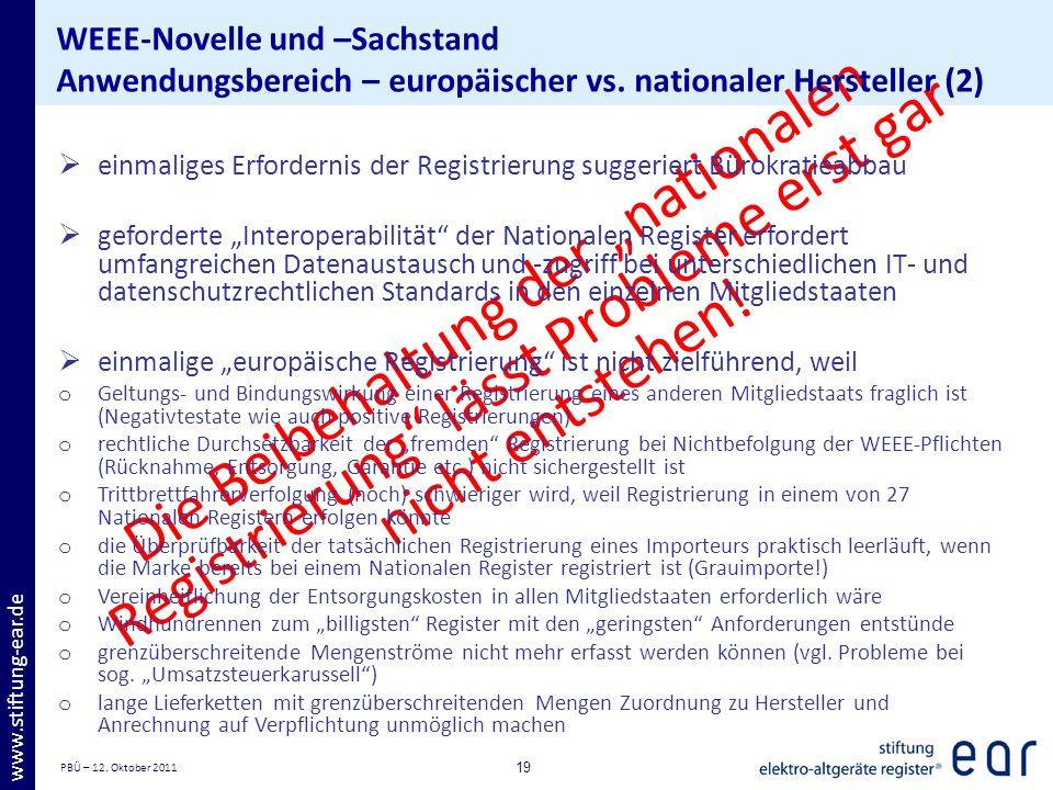 PBÜ – 12. Oktober 2011 19 www.stiftung-ear.de Die Beibehaltung der nationalen Registrierung lässt Probleme erst gar nicht entstehen! WEEE-Novelle und