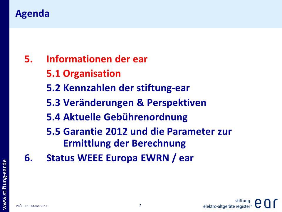 PBÜ – 12. Oktober 2011 2 www.stiftung-ear.de Agenda 5.Informationen der ear 5.1 Organisation 5.2Kennzahlen der stiftung-ear 5.3Veränderungen & Perspek