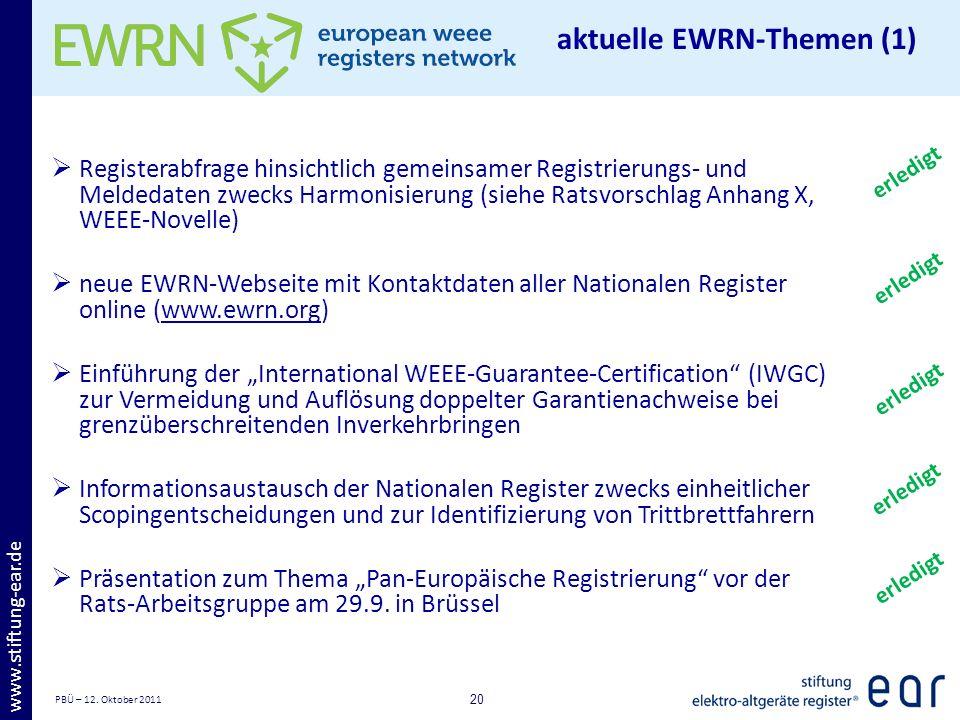 PBÜ – 12. Oktober 2011 20 www.stiftung-ear.de Registerabfrage hinsichtlich gemeinsamer Registrierungs- und Meldedaten zwecks Harmonisierung (siehe Rat
