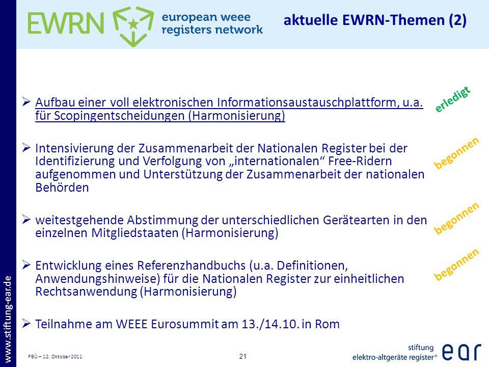 PBÜ – 12. Oktober 2011 21 www.stiftung-ear.de Aufbau einer voll elektronischen Informationsaustauschplattform, u.a. für Scopingentscheidungen (Harmoni