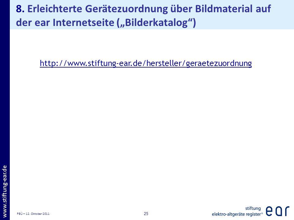 PBÜ – 12. Oktober 2011 25 www.stiftung-ear.de 8. Erleichterte Gerätezuordnung über Bildmaterial auf der ear Internetseite (Bilderkatalog) http://www.s