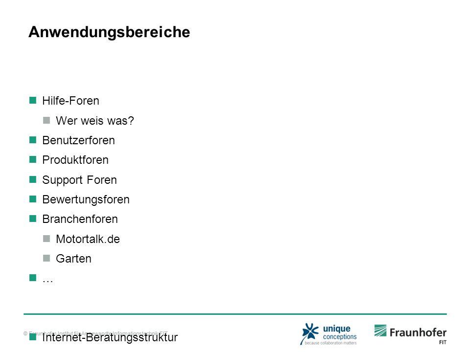 © Fraunhofer-Institut für Angewandte Informationstechnik FIT Anwendungsbereiche Hilfe-Foren Wer weis was.