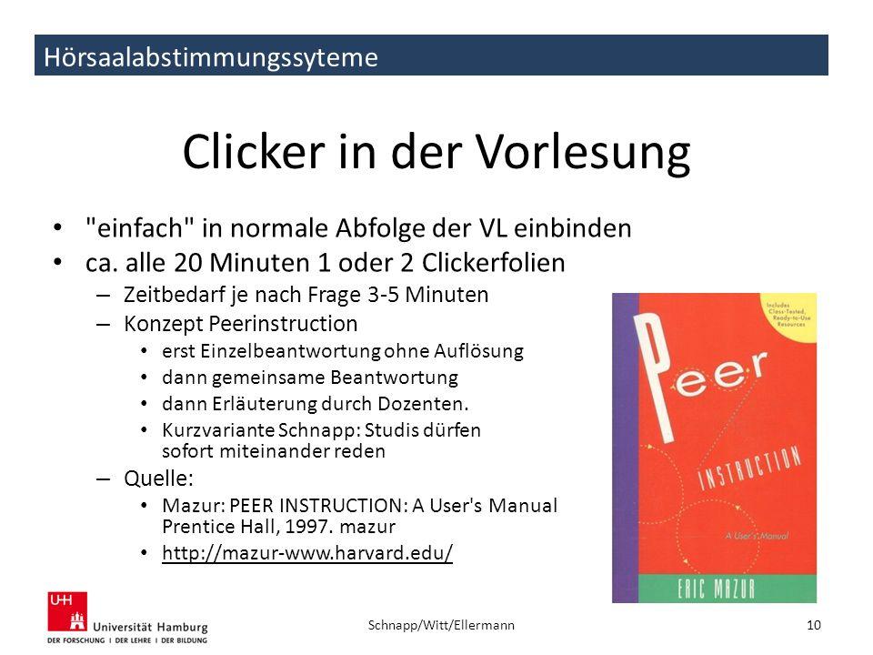 Hörsaalabstimmungssyteme Clicker in der Vorlesung