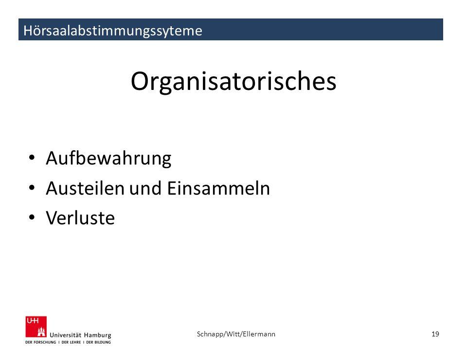 Hörsaalabstimmungssyteme Organisatorisches Aufbewahrung Austeilen und Einsammeln Verluste 19 Schnapp/Witt/Ellermann