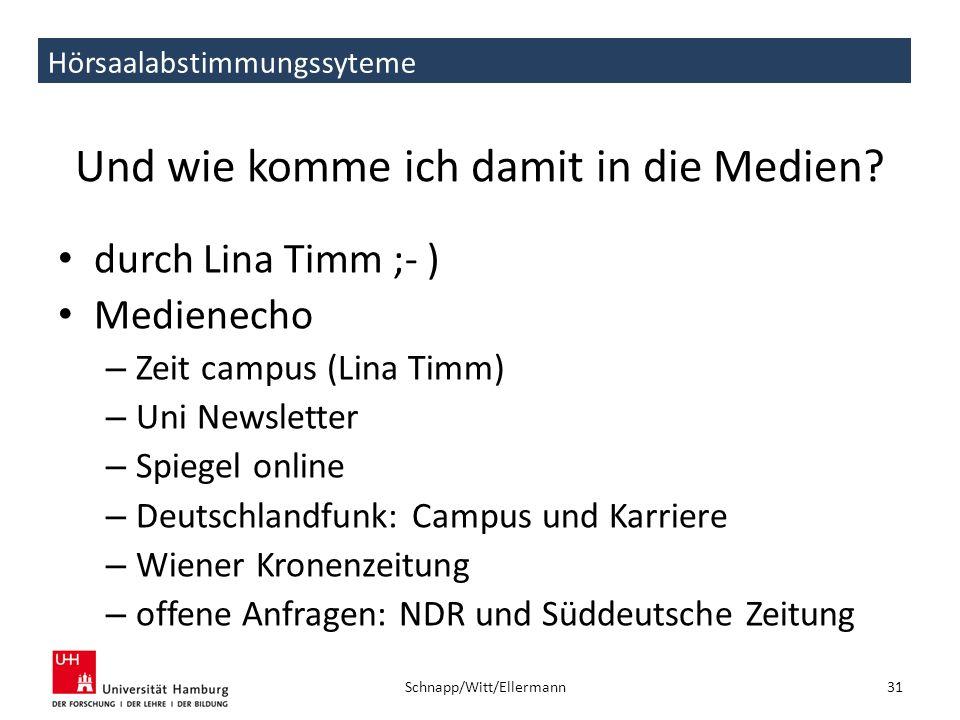 Hörsaalabstimmungssyteme Und wie komme ich damit in die Medien? durch Lina Timm ;- ) Medienecho – Zeit campus (Lina Timm) – Uni Newsletter – Spiegel o