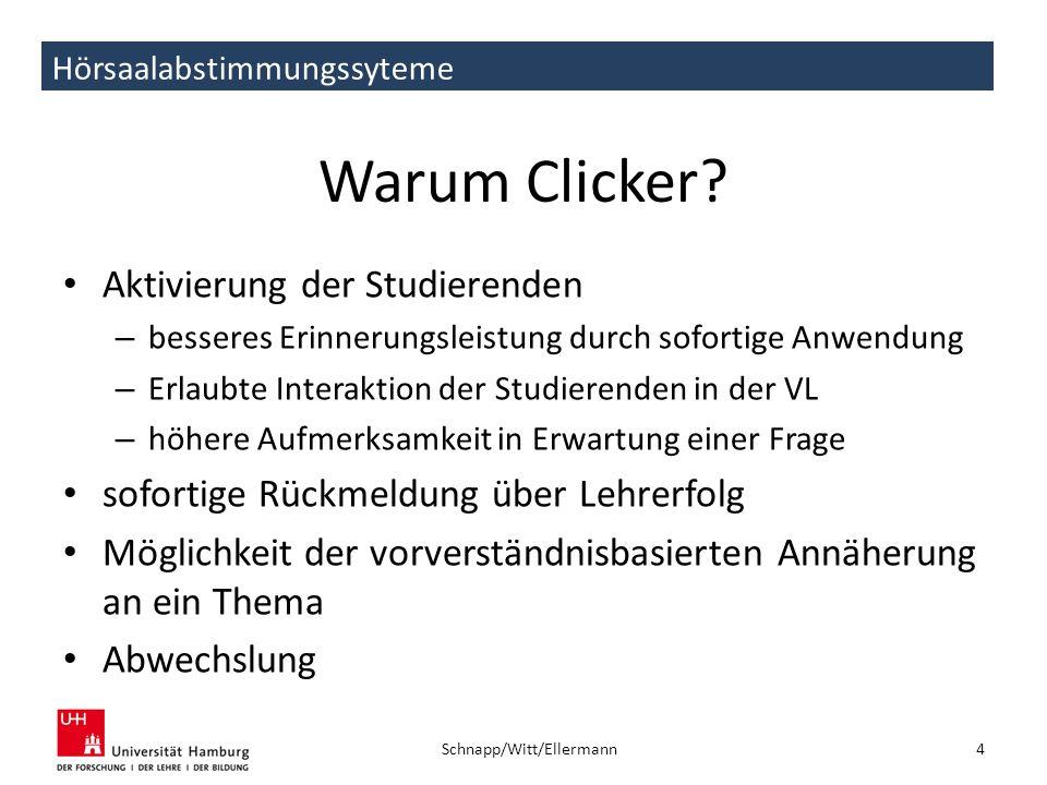 Hörsaalabstimmungssyteme Warum Clicker? Aktivierung der Studierenden – besseres Erinnerungsleistung durch sofortige Anwendung – Erlaubte Interaktion d