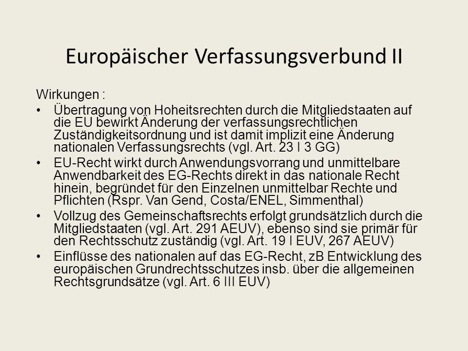 Der Europäische Verfassungsverbund I * * * Abschluss von * * * EG-Vertrag / EU-Vertrag / Verfassung 27 Verfassungen Mitgliedstaaten Integrationsklause