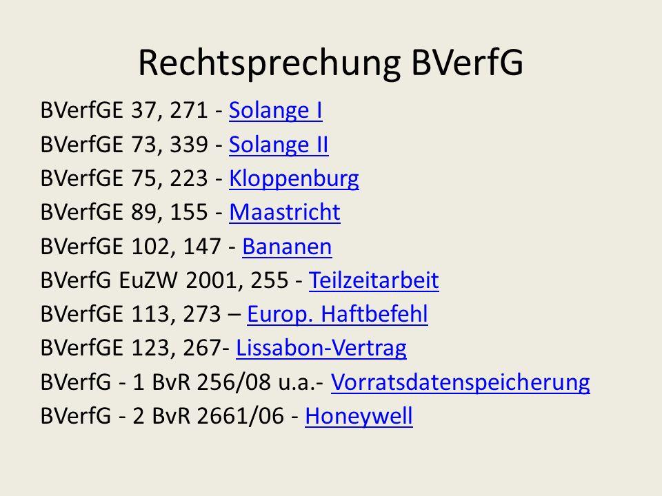 Rechtsprechung BVerfG BVerfGE 37, 271 - Solange ISolange I BVerfGE 73, 339 - Solange IISolange II BVerfGE 75, 223 - KloppenburgKloppenburg BVerfGE 89, 155 - MaastrichtMaastricht BVerfGE 102, 147 - BananenBananen BVerfG EuZW 2001, 255 - TeilzeitarbeitTeilzeitarbeit BVerfGE 113, 273 – Europ.