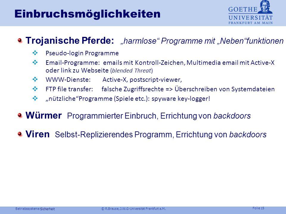 Betriebssysteme: © R.Brause, J.W.G-Universität Frankfurt a.M. Folie 14 Sicherheit Einbruchsmöglichkeiten Passworte erlangen Passwort erraten logist. A