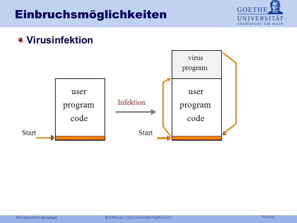 Betriebssysteme: © R.Brause, J.W.G-Universität Frankfurt a.M. Folie 15 Sicherheit Einbruchsmöglichkeiten Trojanische Pferde: harmlose Programme mit Ne