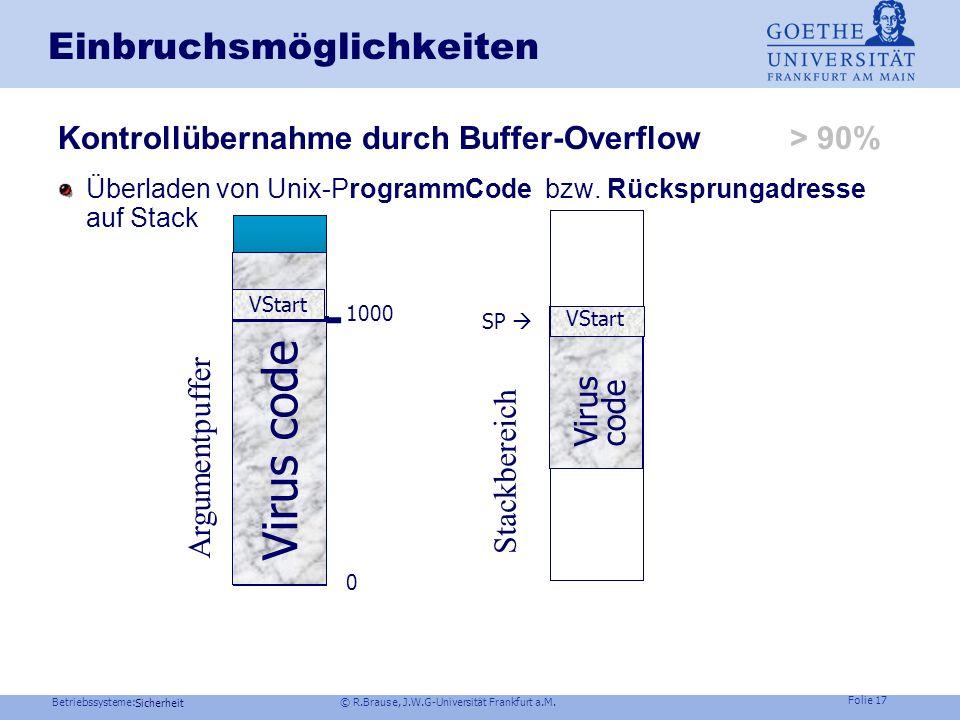 Betriebssysteme: © R.Brause, J.W.G-Universität Frankfurt a.M. Folie 16 Sicherheit Einbruchsmöglichkeiten Infektion Start user program code Start virus