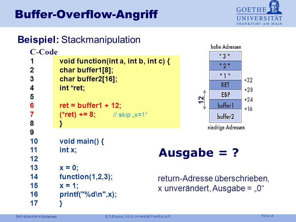Betriebssysteme: © R.Brause, J.W.G-Universität Frankfurt a.M. Folie 18 Sicherheit Buffer-Overflow-Angriff Stackframe bei normalem Funktionsaufruf C-Co
