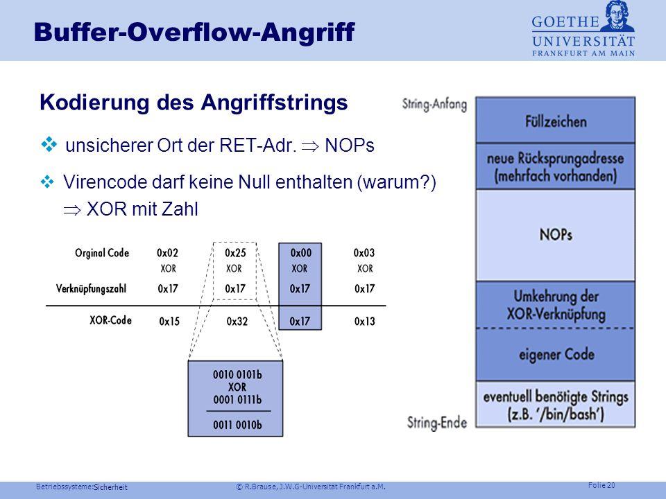 Betriebssysteme: © R.Brause, J.W.G-Universität Frankfurt a.M. Folie 19 Sicherheit Buffer-Overflow-Angriff Beispiel: Stackmanipulation C-Code 1 void fu