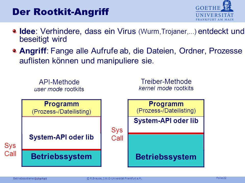 Betriebssysteme: © R.Brause, J.W.G-Universität Frankfurt a.M. Folie 21 Sicherheit Buffer-Overflow-Angriff Einsatz einer sicheren Bibliothek (Link!) li