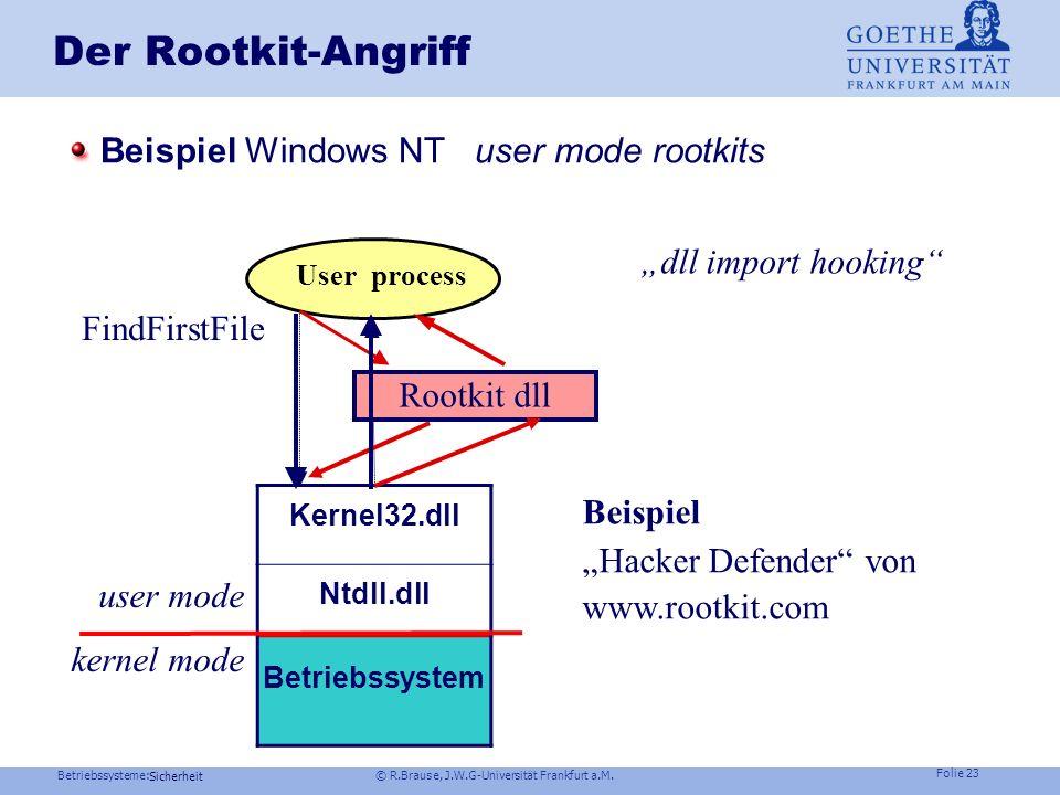 Betriebssysteme: © R.Brause, J.W.G-Universität Frankfurt a.M. Folie 22 Sicherheit Der Rootkit-Angriff Idee: Verhindere, dass ein Virus (Wurm,Trojaner,
