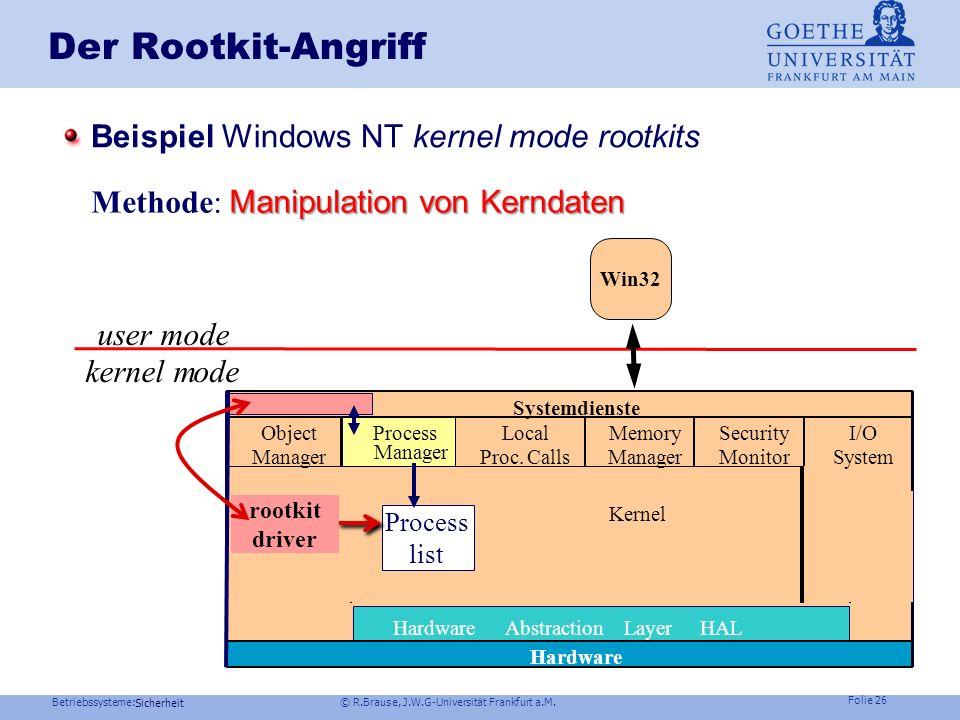 Betriebssysteme: © R.Brause, J.W.G-Universität Frankfurt a.M. Folie 25 Sicherheit Der Rootkit-Angriff Beispiel Windows NT kernel mode rootkits user mo