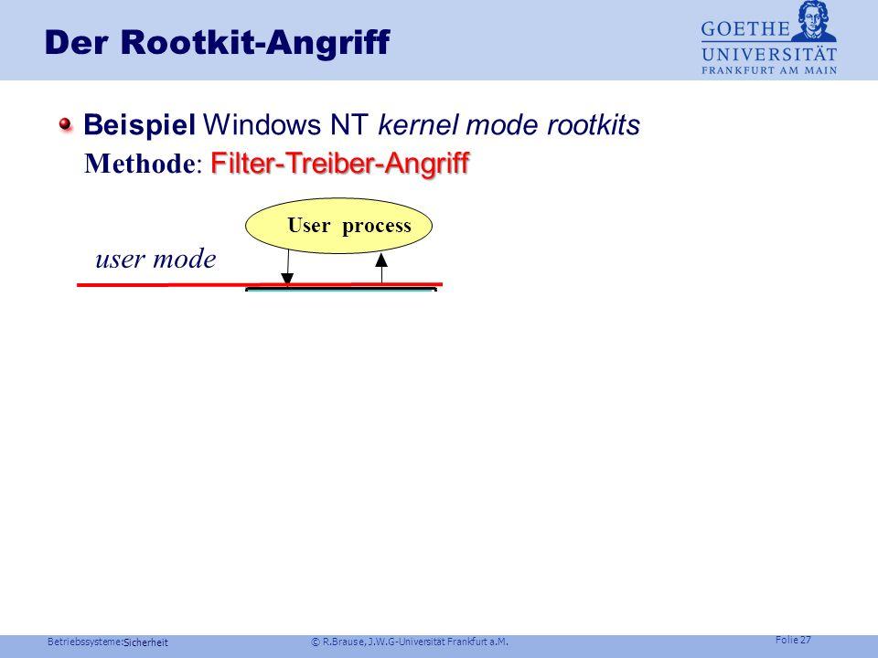 Betriebssysteme: © R.Brause, J.W.G-Universität Frankfurt a.M. Folie 26 Sicherheit Der Rootkit-Angriff Beispiel Windows NT kernel mode rootkits user mo