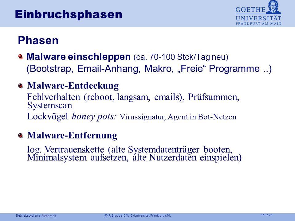 Betriebssysteme: © R.Brause, J.W.G-Universität Frankfurt a.M. Folie 27 Sicherheit Der Rootkit-Angriff Beispiel Windows NT kernel mode rootkits Beispie