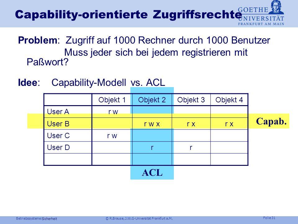 Betriebssysteme: © R.Brause, J.W.G-Universität Frankfurt a.M. Folie 30 Sicherheit Einbruch über Zugriffsrechte Kontrollübernahme (Viren, Würmer etc.)
