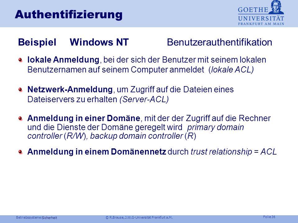 Betriebssysteme: © R.Brause, J.W.G-Universität Frankfurt a.M. Folie 35 Sicherheit Beispiel Unix Authentifizierung am Rechner Prozeßfolge: /etc/passwd