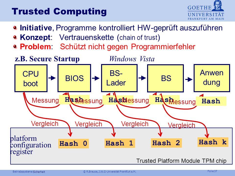 Betriebssysteme: © R.Brause, J.W.G-Universität Frankfurt a.M. Folie 36 Sicherheit Authentifizierung Beispiel Windows NTBenutzerauthentifikation lokale