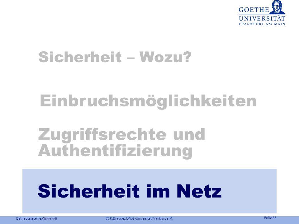 Betriebssysteme: © R.Brause, J.W.G-Universität Frankfurt a.M. Folie 37 Sicherheit Trusted Computing Initiative, Programme kontrolliert HW-geprüft ausz