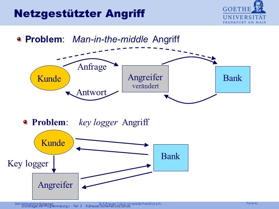 Betriebssysteme: © R.Brause, J.W.G-Universität Frankfurt a.M. Folie 40 Sicherheit Grundlagen der Programmierung 1 - Teil 3 R.Brause: Sicherheit und Sc