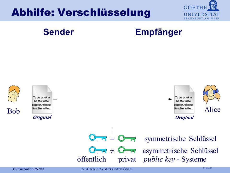 Betriebssysteme: © R.Brause, J.W.G-Universität Frankfurt a.M. Folie 42 Abhilfe: Isolierung der Prozesse Beispiel Qubes OS Joanna Rutkowska Isolierung