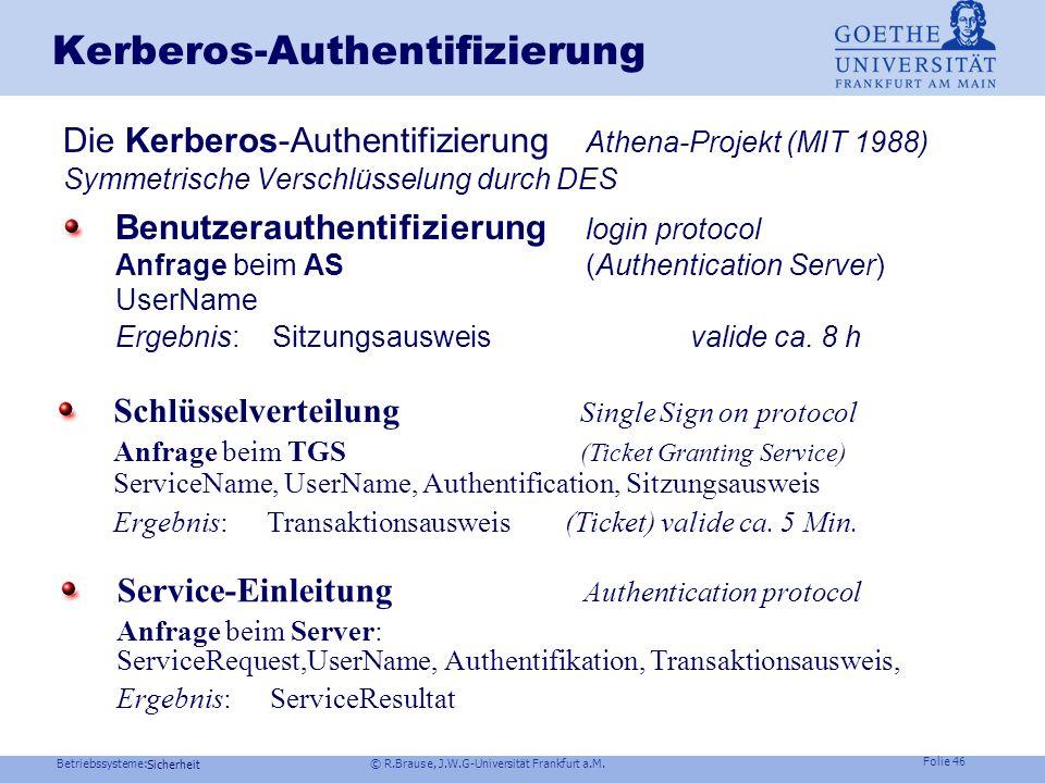Betriebssysteme: © R.Brause, J.W.G-Universität Frankfurt a.M. Folie 45 Sicherheit Grundlagen der Programmierung 1 - Teil 3 R.Brause: Sicherheit und Sc