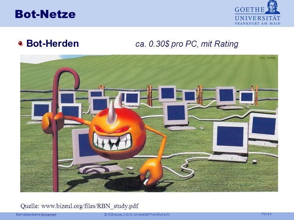 Betriebssysteme: © R.Brause, J.W.G-Universität Frankfurt a.M. Folie 5 Sicherheit Kontext Risikomanagement