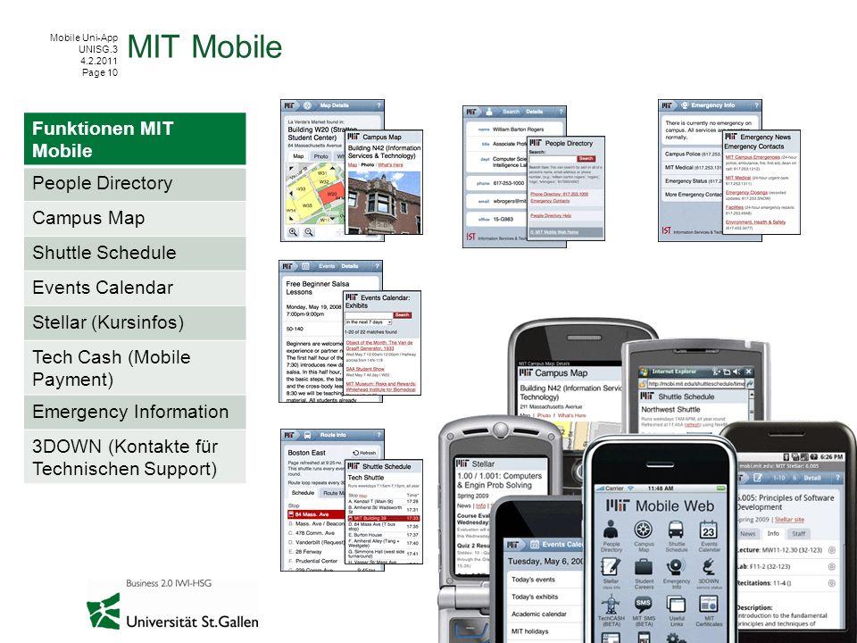 Mobile Uni-App UNISG.3 4.2.2011 Page 10 MIT Mobile Funktionen MIT Mobile People Directory Campus Map Shuttle Schedule Events Calendar Stellar (Kursinf