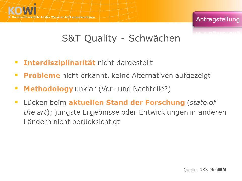 S&T Quality - Schwächen Interdisziplinarität nicht dargestellt Probleme nicht erkannt, keine Alternativen aufgezeigt Methodology unklar (Vor- und Nach