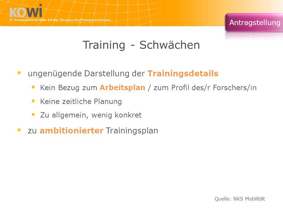 Training - Schwächen ungenügende Darstellung der Trainingsdetails Kein Bezug zum Arbeitsplan / zum Profil des/r Forschers/in Keine zeitliche Planung Z