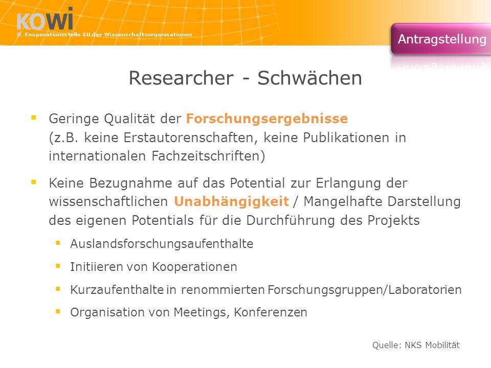 Researcher - Schwächen Geringe Qualität der Forschungsergebnisse (z.B. keine Erstautorenschaften, keine Publikationen in internationalen Fachzeitschri