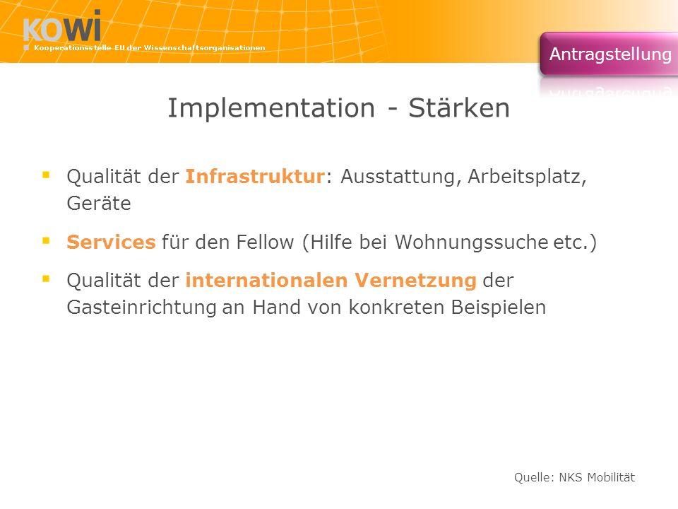 Implementation - Stärken Qualität der Infrastruktur: Ausstattung, Arbeitsplatz, Geräte Services für den Fellow (Hilfe bei Wohnungssuche etc.) Qualität