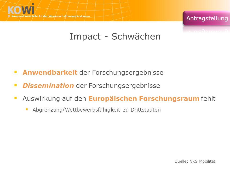 Impact - Schwächen Anwendbarkeit der Forschungsergebnisse Dissemination der Forschungsergebnisse Auswirkung auf den Europäischen Forschungsraum fehlt