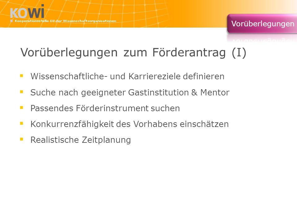 Vorüberlegungen zum Förderantrag (I) Wissenschaftliche- und Karriereziele definieren Suche nach geeigneter Gastinstitution & Mentor Passendes Förderin