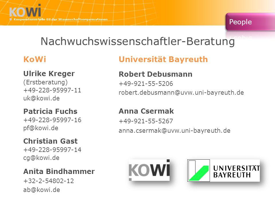 Nachwuchswissenschaftler-Beratung KoWi Ulrike Kreger (Erstberatung) +49-228-95997-11 uk@kowi.de Patricia Fuchs +49-228-95997-16 pf@kowi.de Christian G