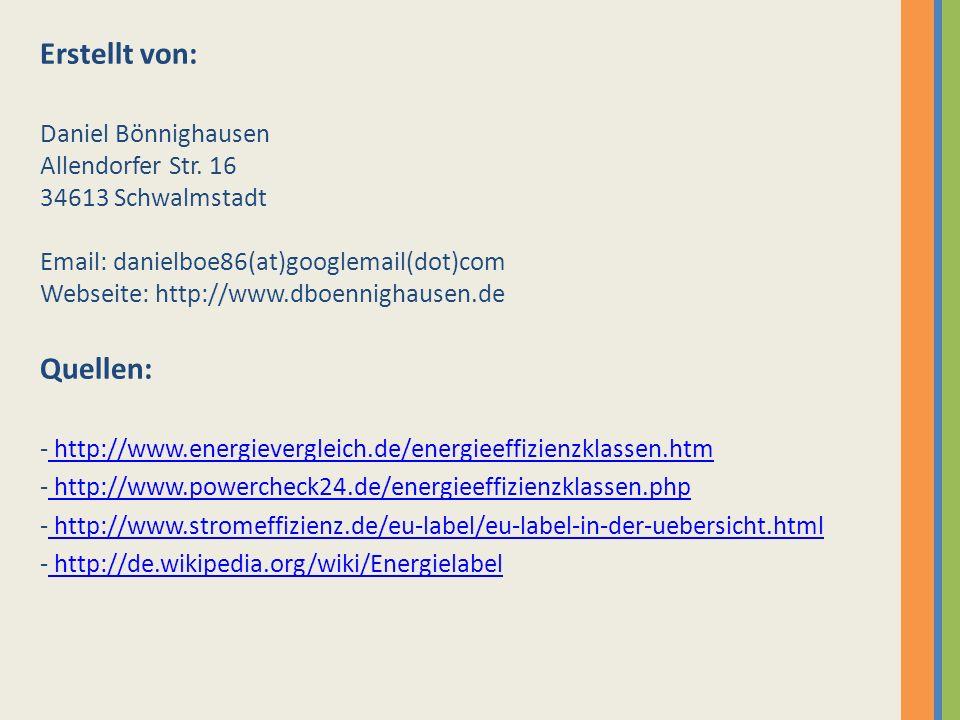 Erstellt von: Daniel Bönnighausen Allendorfer Str. 16 34613 Schwalmstadt Email: danielboe86(at)googlemail(dot)com Webseite: http://www.dboennighausen.