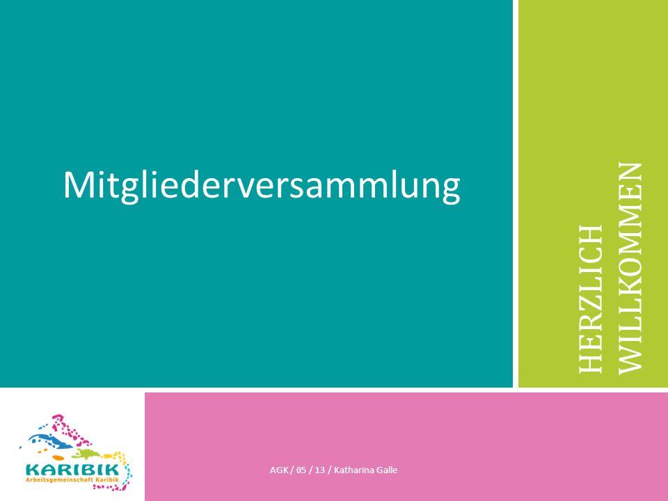 HERZLICH WILLKOMMEN Mitgliederversammlung AGK / 05 / 13 / Katharina Galle