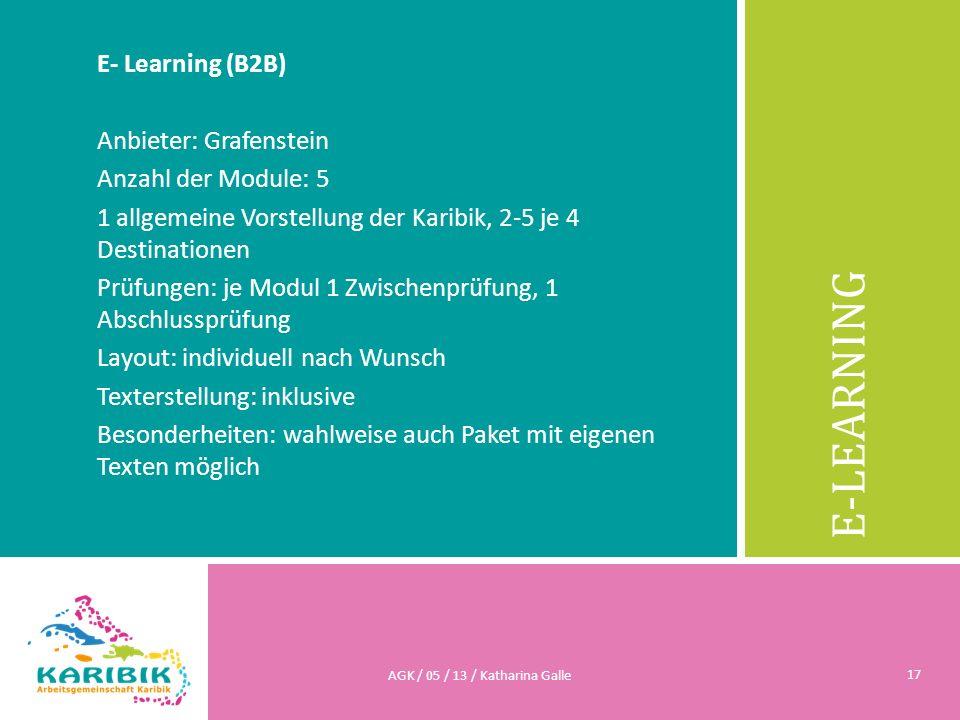 E-LEARNING E- Learning (B2B) Anbieter: Grafenstein Anzahl der Module: 5 1 allgemeine Vorstellung der Karibik, 2-5 je 4 Destinationen Prüfungen: je Mod