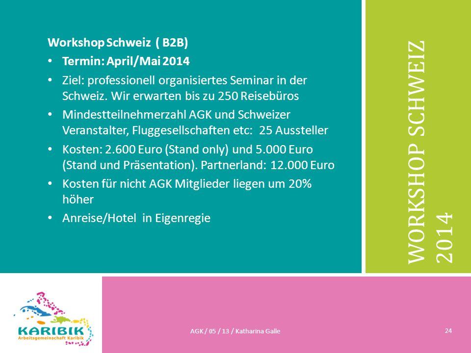WORKSHOP SCHWEIZ 2014 Workshop Schweiz ( B2B) Termin: April/Mai 2014 Ziel: professionell organisiertes Seminar in der Schweiz. Wir erwarten bis zu 250