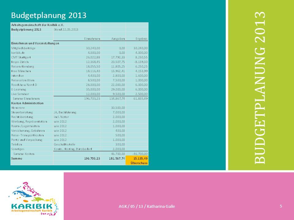 BUDGETPLANUNG 2013 Budgetplanung 2013 AGK / 05 / 13 / Katharina Galle 5
