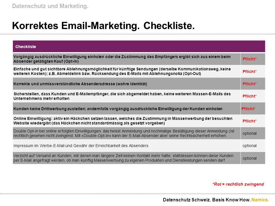 Namics. Korrektes Email-Marketing. Checkliste. Datenschutz und Marketing. Datenschutz Schweiz. Basis Know How. Checkliste Vorgängig ausdrückliche Einw