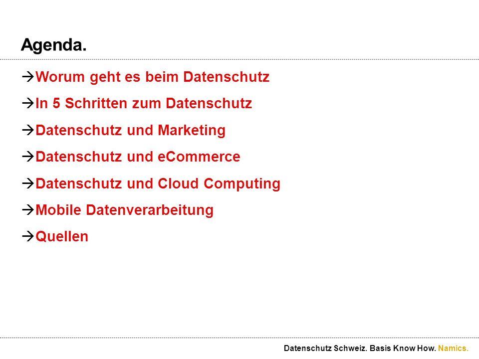 Namics.Beispiel 2. Was ist erlaubt. Datenschutz und Marketing.