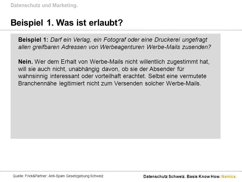 Namics. Beispiel 1. Was ist erlaubt? Datenschutz und Marketing. Datenschutz Schweiz. Basis Know How. Beispiel 1: Darf ein Verlag, ein Fotograf oder ei