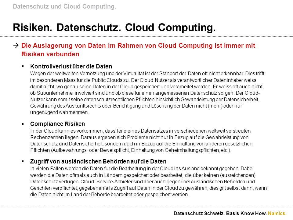 Namics. Risiken. Datenschutz. Cloud Computing. Die Auslagerung von Daten im Rahmen von Cloud Computing ist immer mit Risiken verbunden Kontrollverlust