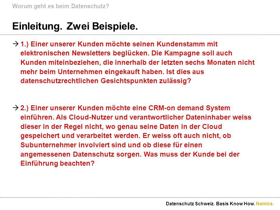 Namics. Datenschutz und Marketing. Datenschutz Schweiz. Basis Know How.